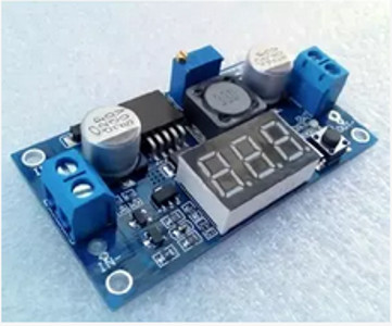 Foto Produk LM 2596 with VOLTMETER adjustable DC-DC step down module ultra compact dari solarperfect