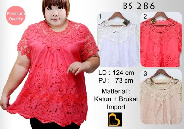 Jual Big Size Blouse Wanita Lengan Pendek Jumbo GBSBS286 Katun Mix ... 3d611028cb