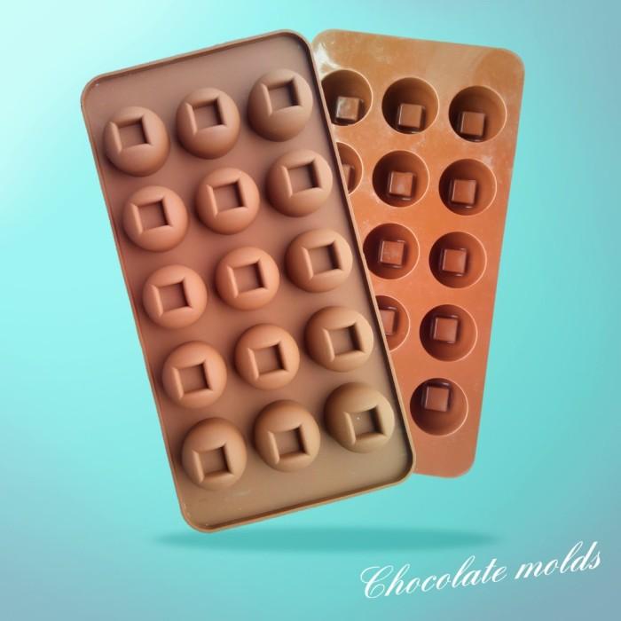 Cetakan silikon puding coklat praline bulat kotak
