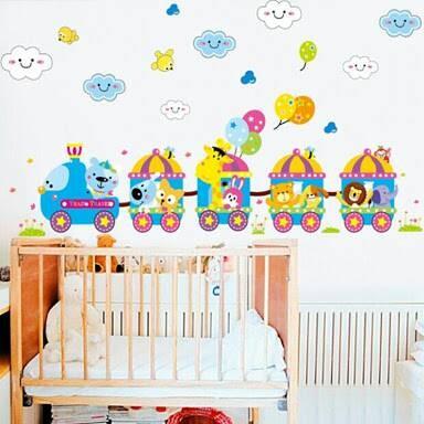 harga Wall sticker 50x70/wall stiker transparan-am7065 train animal Tokopedia.com