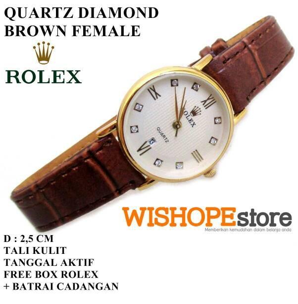 harga Jam tangan kulit rolex diamond coklat female tanggal aktif Tokopedia.com