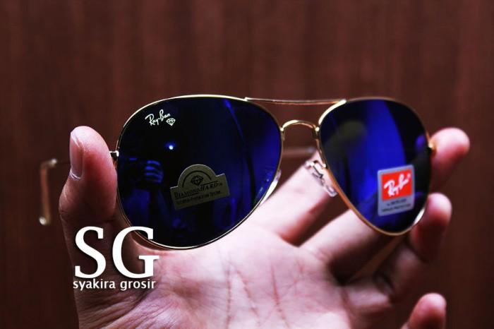 b3022731950 Kacamata Rayban Aviator Cobalt Blue Lens Diamond Hard Gold Frame 3206