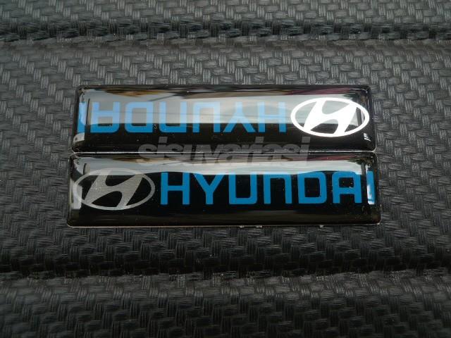 Emblem hyundai alumunium gel
