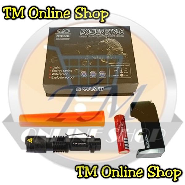 harga Senter Police Swat Mini Led Zoom Q5 Power Style C-80 78000 Watt + Baterai Recharge Ultrafire 18650 + Charger Desktop + Lalin Tokopedia.com