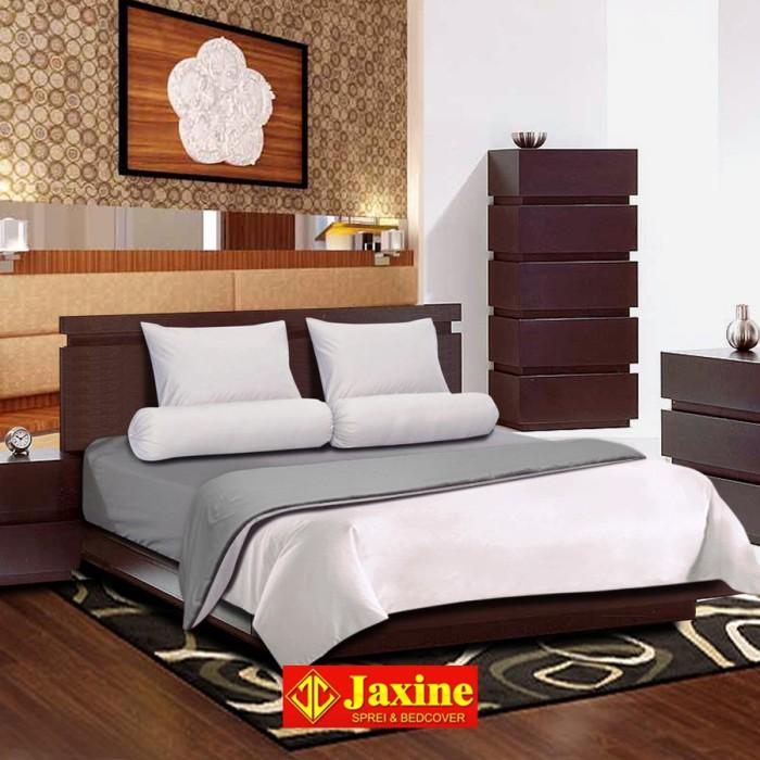 ... Bedcover Set Jaxine Polos Katun Prada Abu abu Putih 160x200x20cm