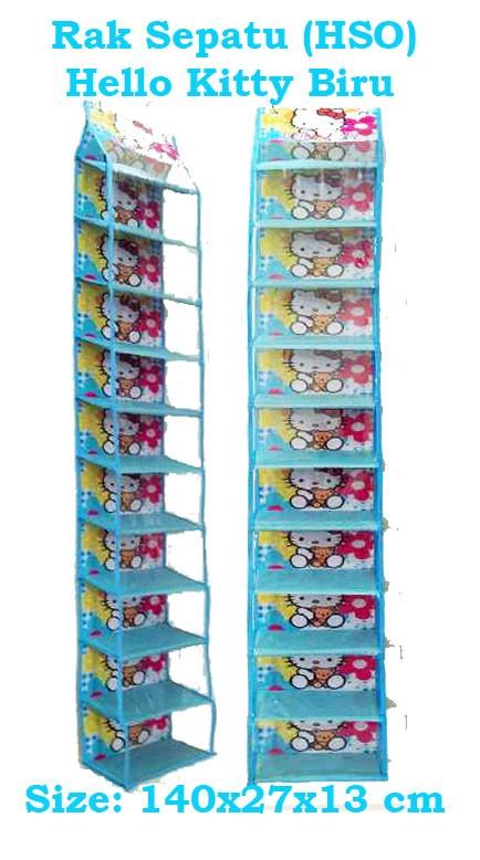 harga Hsoz hello kitty biru (hanging shoes organizer zipper) rak sepatu Tokopedia.com