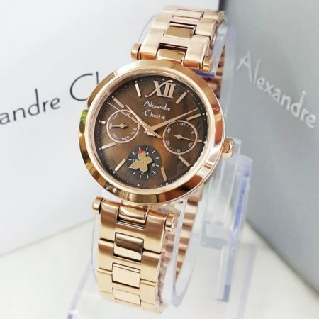 Jam Tangan Alexandre Christie AC-2498 Rosegold Brown