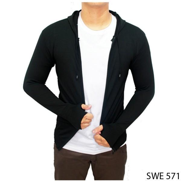 harga Sweater knit hoodie ariel rajut hitam  swe 571 Tokopedia.com