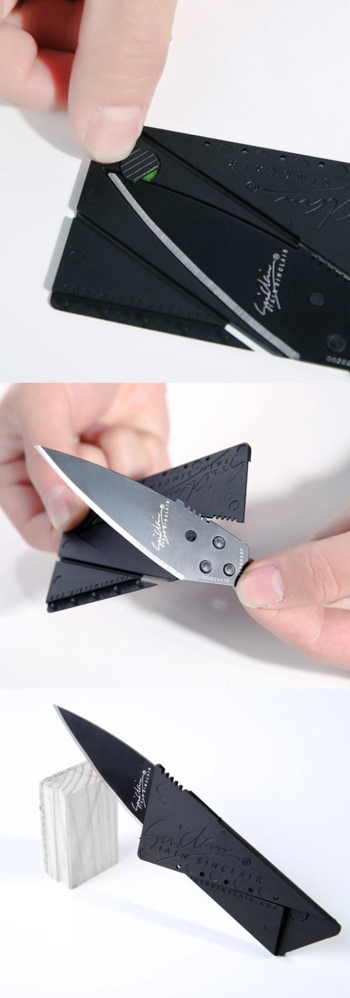 Pisau Lipat Mini Kecil Kartu Atm Credit Card Sinclair Knife Portable Bentuk 2 Cardsharp Hidden Survival Kit Outdoor Adventure 166