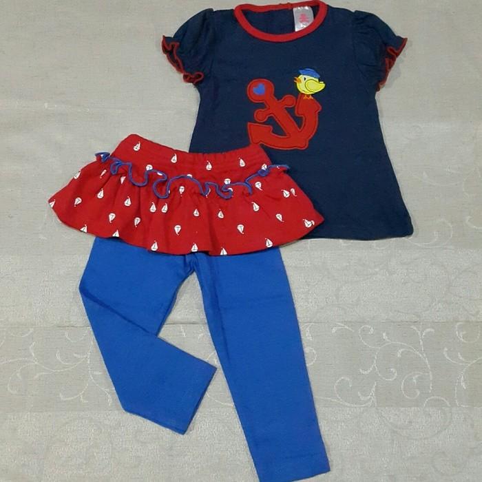 Foto Produk Baju Setelan Celana Rok Kaos Anak Bayi Perempuan Lucu Murah Jangkar(4) dari jiby baby shop