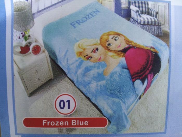 "Selimut Bulu Soft Panel Blanket ""Frozen Blue"" / Bed Cover merk Rossini"
