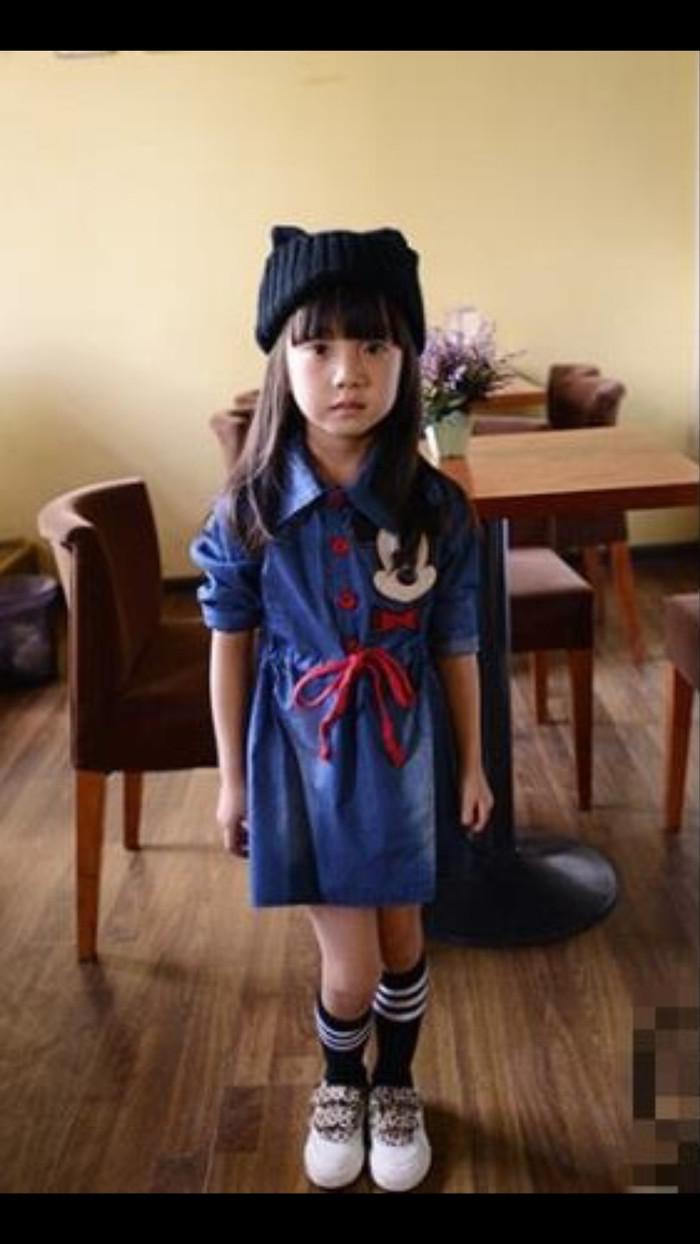 Jual Ig 292 Mickey Mouse Denim Dress Baju Anak Import Jeans Korea Mikimouse
