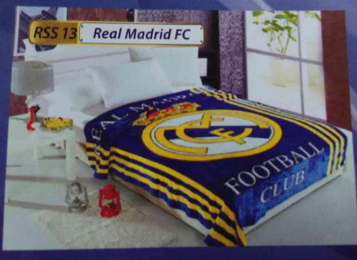 "Selimut Bulu Soft Panel Blanket ""Real Madrid FC"", Klub Bola termurah"