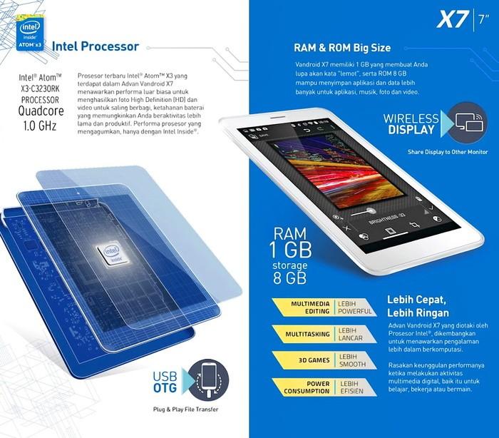 TABLET ADVAN VANDROID X7 INTEL ATOM PROCESSOR
