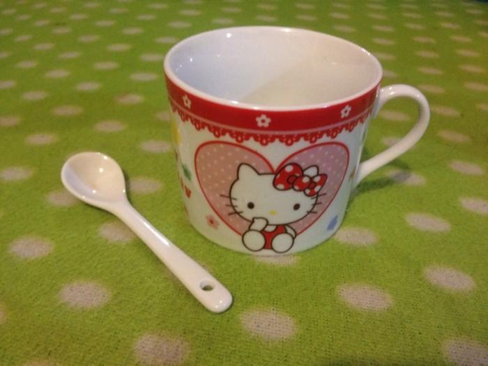 Kado fancy hk tea cup + spoon ceramic hello kitty cangkir sendok teh