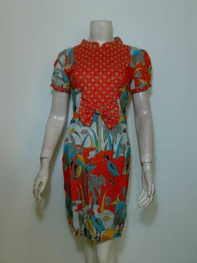 Jual Dress Batik Slimmfit Xs S Dress Batik Pesta Oren Lengan