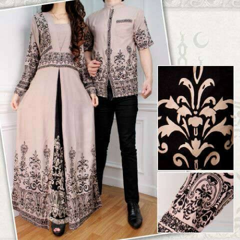 Rifin Couple (Kemeja Pria Dress Wanita Batik Katun Rayon Coklat Susu)
