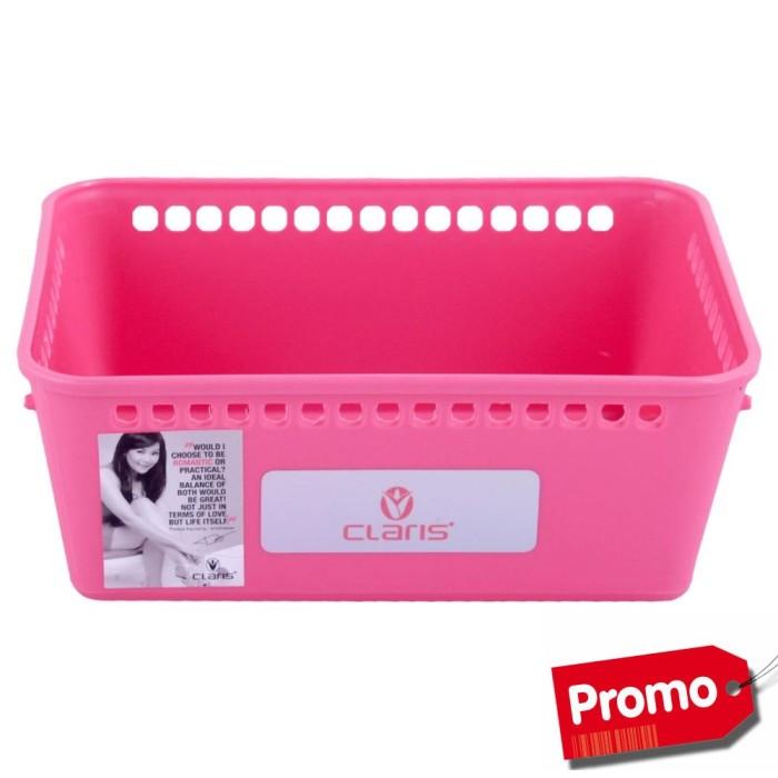 CLARIS Kotak penyimpanan Bentuk Nampan Pink MESH Kecil