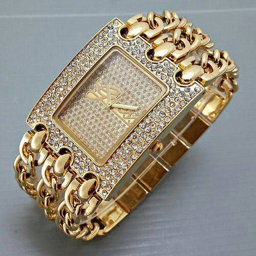 harga Jam tangan wanita / cewek guess 3 rantai plat diamond gold Tokopedia.com