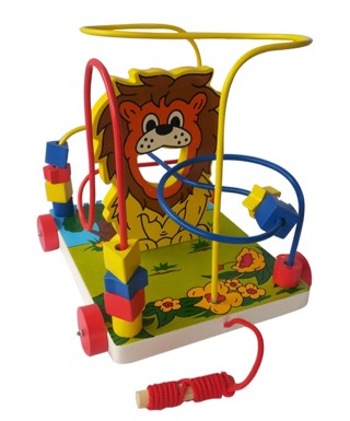 Mainan edukatif / edukasi anak - balok kayu - alur kawat 3 singa