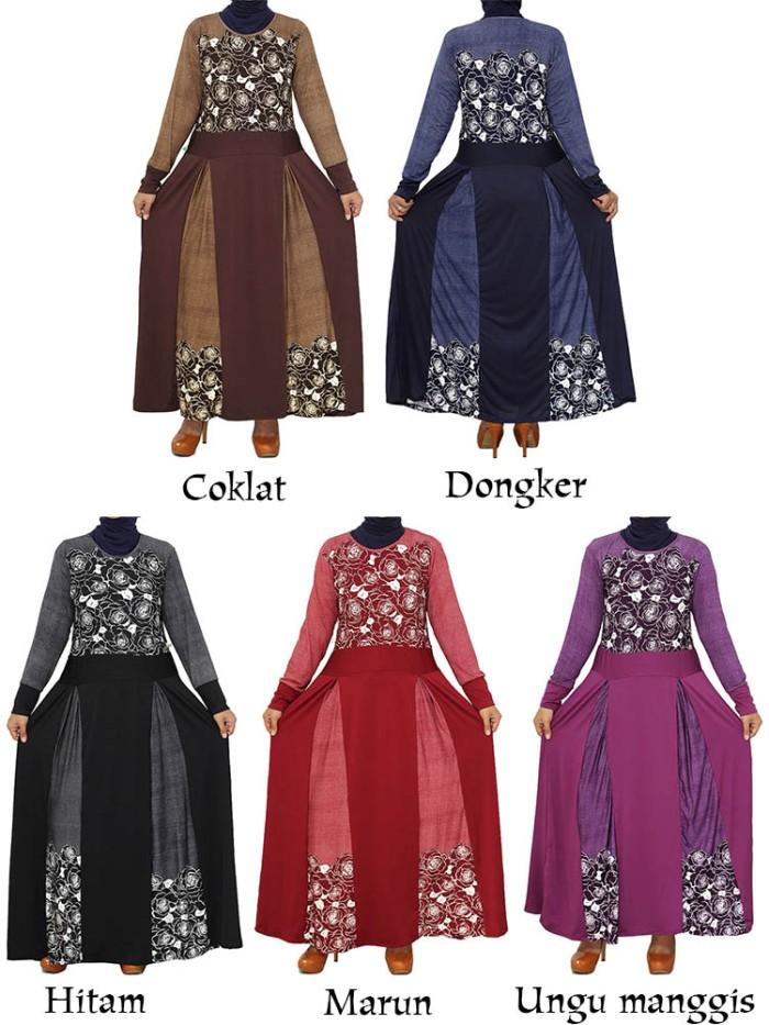 Jual Gamis Jersey Umbrella Motif Bunga Kombinasi Polos Abyana Shop