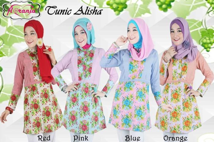 Foto Produk Jual Baju Atasan Muslim Modern Tunik Alisha Florania - Blus Murah dari SitusBelanjaku