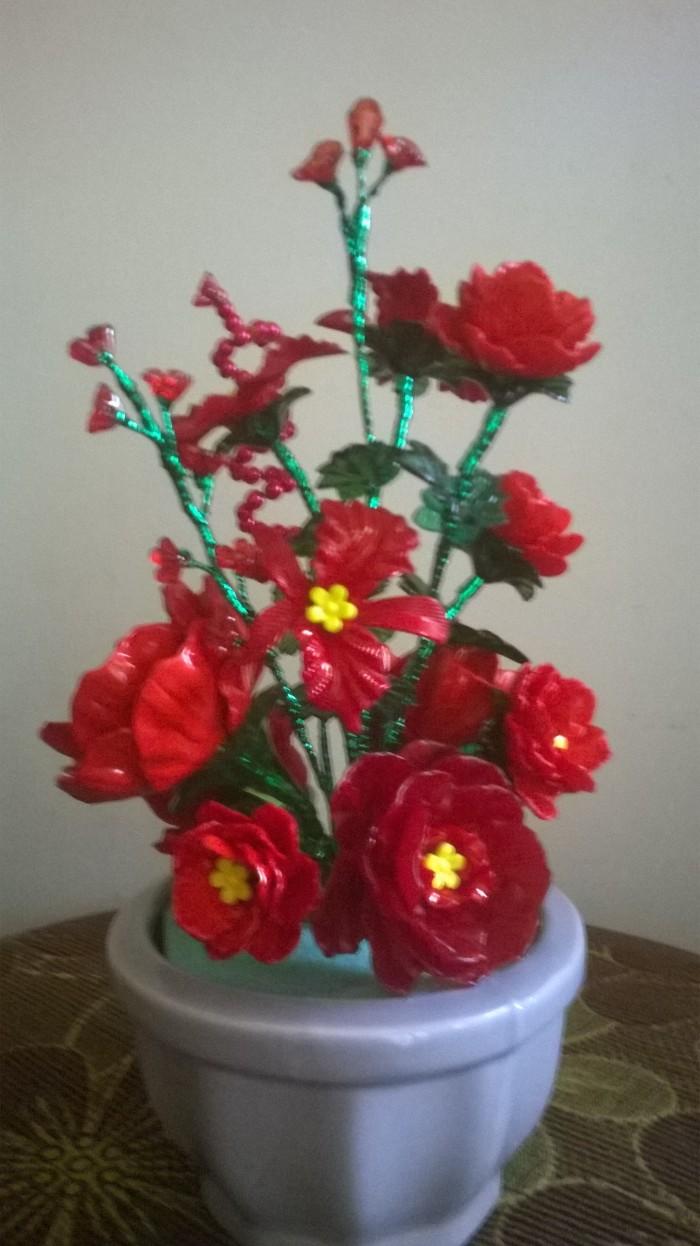 Jual Bunga Mawar Kerang Merah Pot Kota Banjarbaru Akrilik Banjarbaru