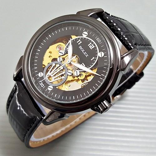 harga Rolex skeleton devil kulit fullblack   jam tangan automatic / otomatis Tokopedia.com