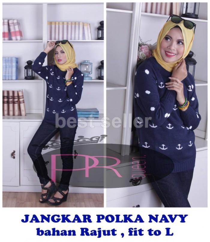 Jual Grosir Baju Sweater Rajut Murah Jangkar Polka Navy - Ratna Shop ... b80062ad15