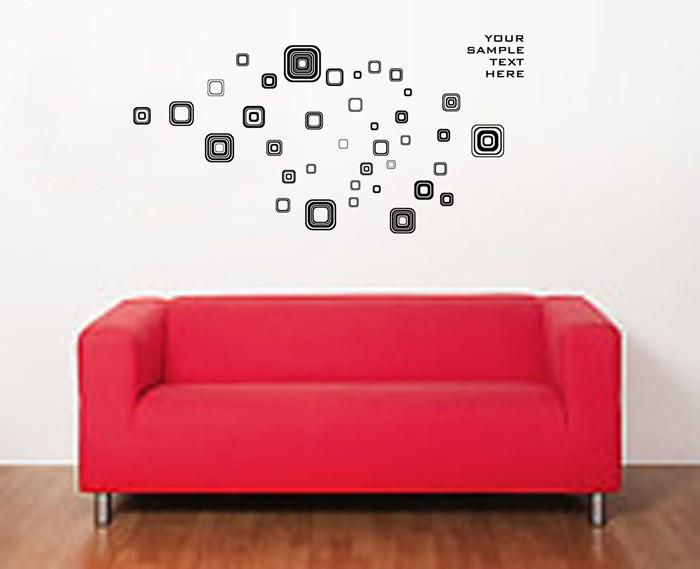 Wall sticker 50x70/wall stiker transparan-jm8336-black suare ...