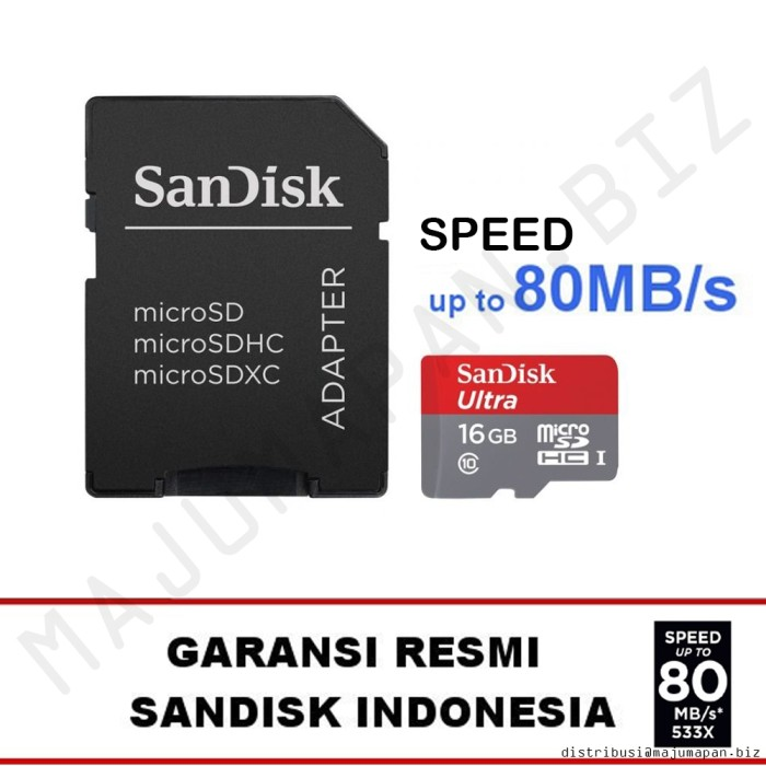 SanDisk Ultra MicroSD 16GB 80MBps Micro SDHC 16 GB Sd Class 10