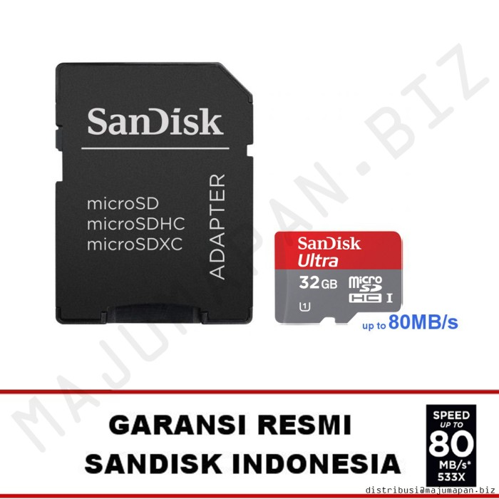 Jual Sandisk Ultra Micro SD SDHC 32 GB Class 10 80MB S