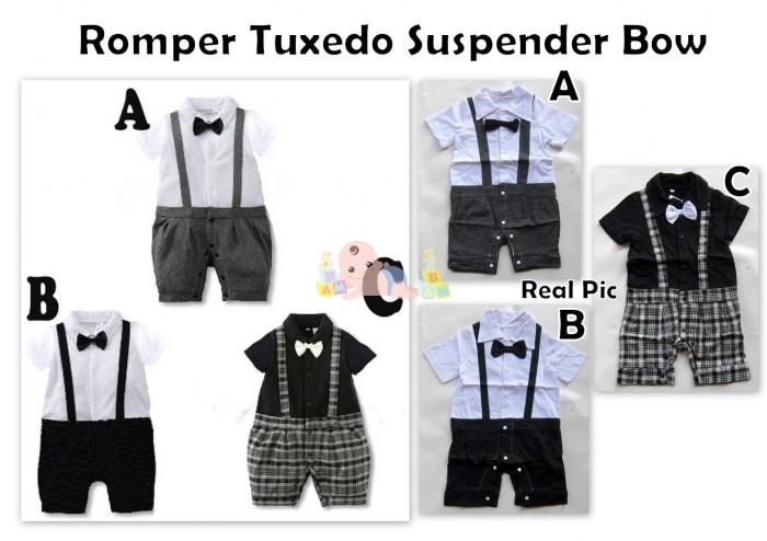 harga Romper tuxedo suspender bow Tokopedia.com