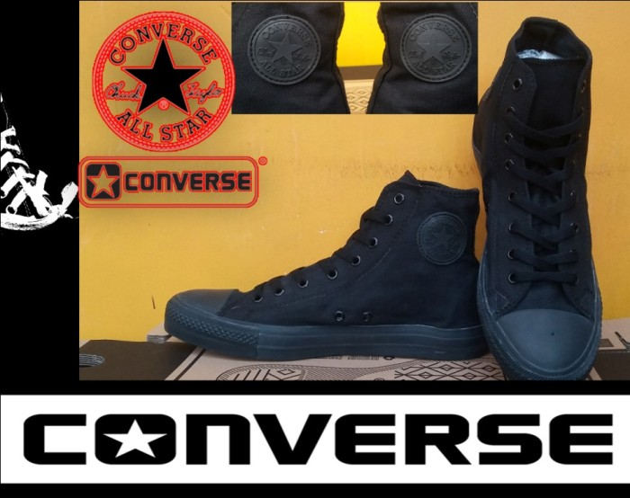 Jual SEPATU CONVERSE ALL STAR HIGH FULL BLACK + BOX GRADE ORIGINAL ... e6333991e5