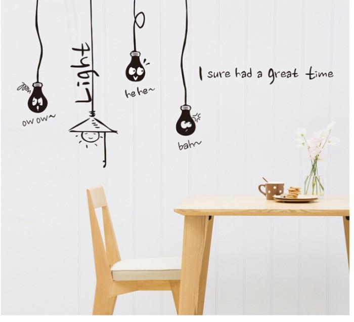 jual stiker dinding / wall sticker lampu gantung abc 1013 - kota