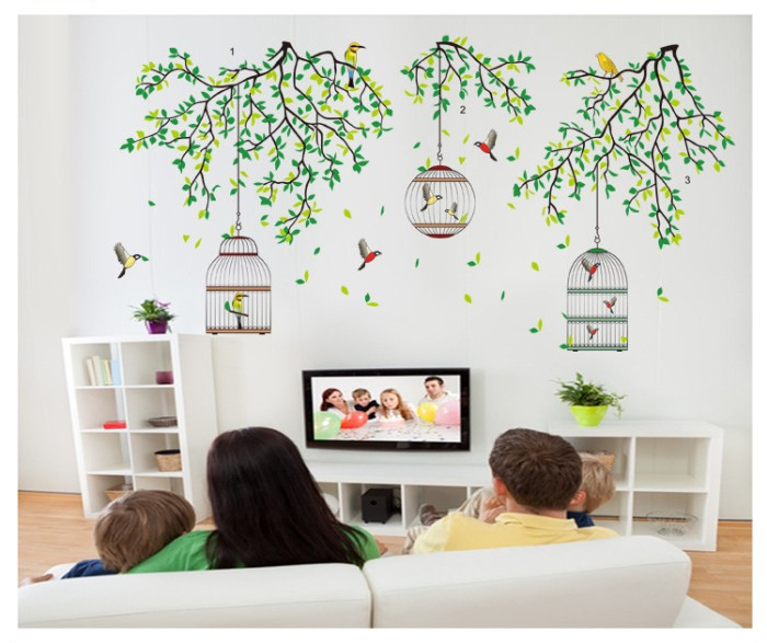 jual stiker dinding / wall sticker tree / pohon sangkar jm 7259