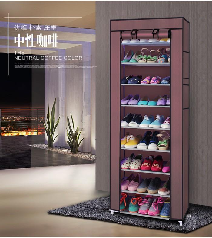 harga Rak sepatu kain 10 susun shoe rack shoes dust cover lemari tingkat rac Tokopedia.com