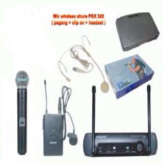 harga Mic wireless shure pgx 242 ( pegang + clip on + headset ) Tokopedia.com