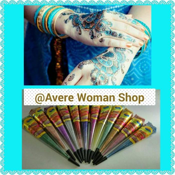 Henna Golecha Gliter/Henna Gliter warna warni murah import