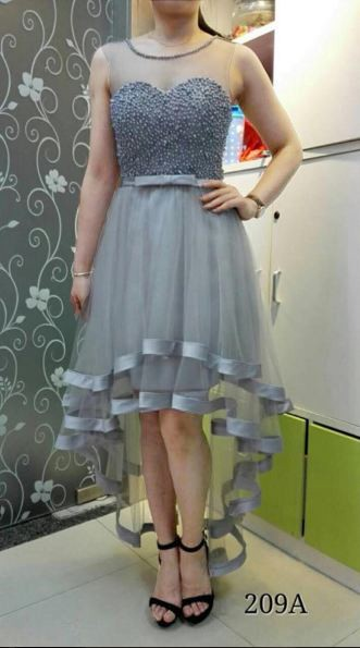 Jual Gaun Pesta Brukat Ekor Dress Pesta Pendek Import Korea Tile