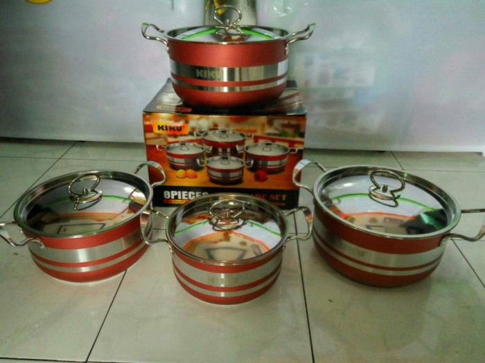 harga Panci cookware set kiku 8 piece stainless steel Tokopedia.com