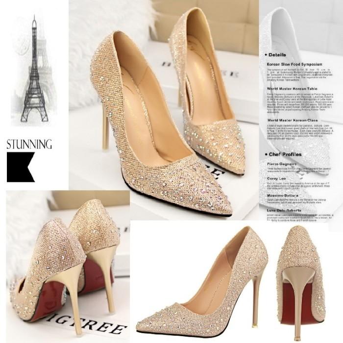 Sepatu import impor pesta blink bling mata blue gold silver pink kerja 4a245a08ce