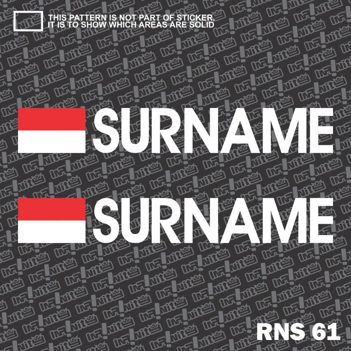 Rns61 custom nama cutting sticker balap motor racing bendera indonesia