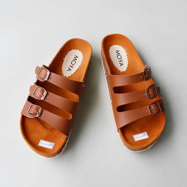 harga Sandal / sendal wanita santai flat flatbed 3 strip tan Tokopedia.com