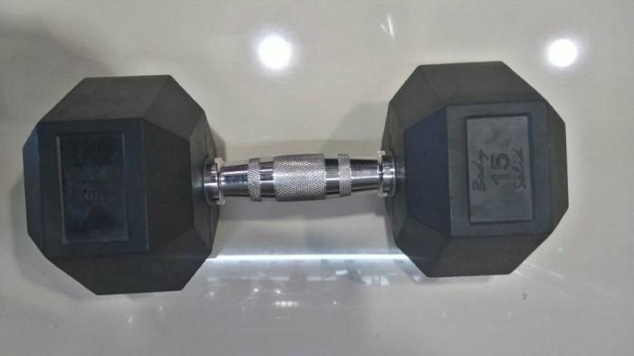 harga Rubber coated hexagonal dumbbell 15kg Tokopedia.com