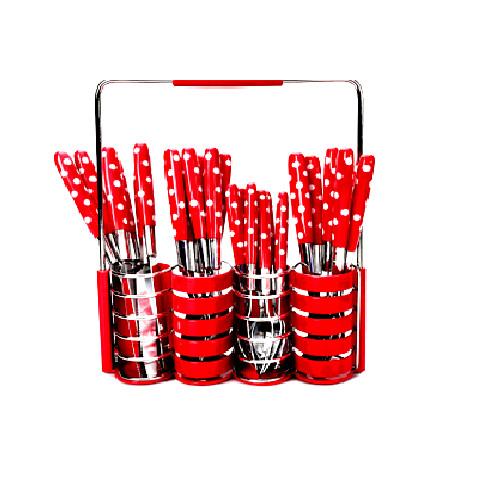 Foto Produk Sendok Set 24 pcs Polkadot - stainless steel- Merah dari cellis Supplier Jakarta
