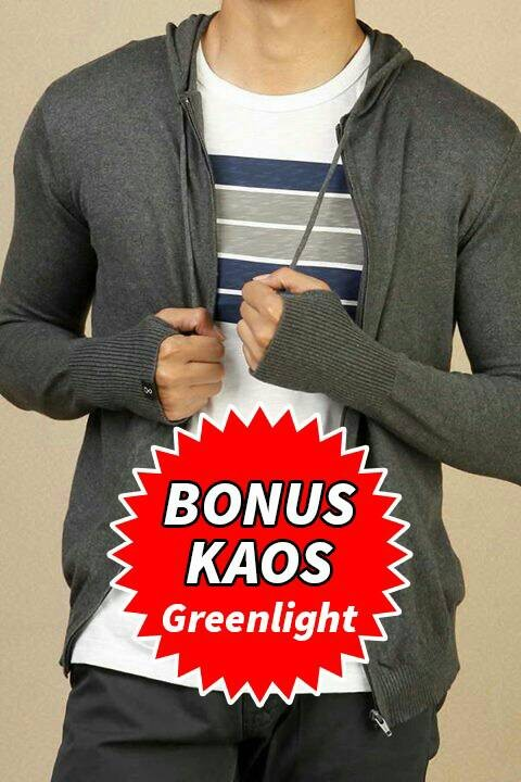 jaket sweater hoodie knit rajut ariel bonus kaos greenlight premium - Navy, L