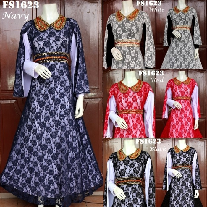 harga Baju pesta nagita brokat fs1623 busana muslim gamis maxi dress wanita Tokopedia.com
