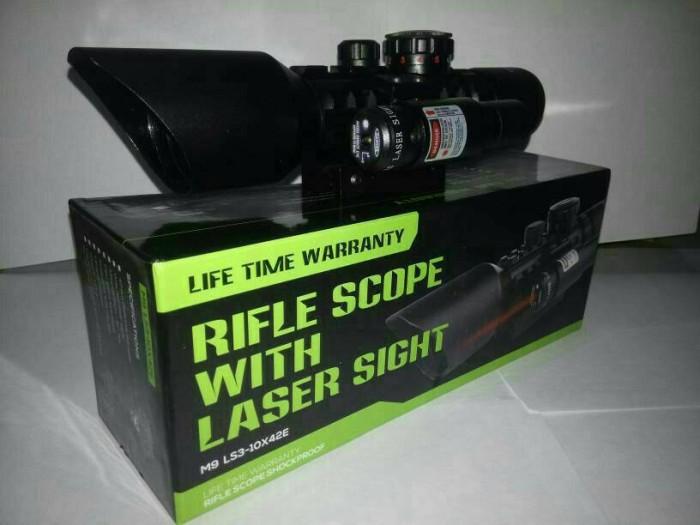 Jual rifle scope shockproof 3 10x 42e teleskop senapan angin dki