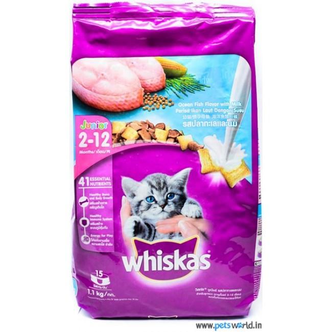 Whiskas junior cat food pakan kucing pouch 1.1 kg rasa tuna